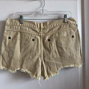 Free People Shorts - Free People - Yellow Denim Shorts